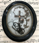 Antique French Mourning Hair Art Domed Glass Oval Wooden Frame Pansy Cross c1906
