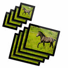 4x Glass Placemates  Coasters Horse Foal Pony 3323