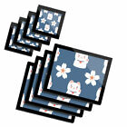 4x Glass Placemates  Coasters Cute Lucky Cat  Flower Chinese China 8729