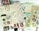 Lot of Floral Scrapbooking Paper Stickers Brads Ribbon Silk Flowers
