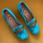 GUCCI Sylvie Turquoise Velvet Burnout GG Shoes SOLD OUT EVERYWHERE