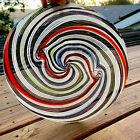 Heavy blown swirling colorful murano art glass clear base