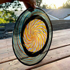 Heavy L Blown Murano Glass Colorful Plate Swirling Sun Face Colorful Clear Base