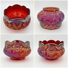 Indiana Glass Heirloom Sunset Ruby Red Carnival Glass Hobstar  Arches Bowl