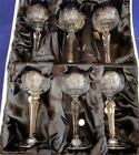 Set of 6 VTG Czech Crystal Wine Goblets Glasses Bohemian Queen Lace Hand Cut