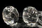 PAIR Steuben Crystal Glass Owl Hand Coolers or Paperweight Signed
