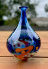 Blown Murano Glass Cobalt Blue Bud Neck Vase Colorful Dots Lines Clear Base