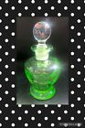 Antique Green Depression Glass Perfume Cologne Bottle With Glass Stopper