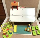 Vintage Fisher Price 70s School House with Little People  Accessories