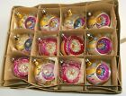 Vintage Hot Pink Gold Mercury Glass Indent Christmas Ornaments Poland