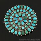 NATIVE AMERICAN ZUNI HANDMADE SILVER  NATURAL TURQUOISE CLUSTER BROOCH PIN