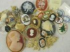 E14 All Wear Vtg Cameo Jewelry Lot Brooches Lockets Rings Earrings Necklaces