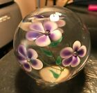 GLASS EYE STUDIO SIGNED PURPLE BLOSSOM CLEAR ROUND 2 3 4 PAPERWEIGHT 1990 RUSU