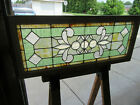 ANTIQUE STAINED AND BEVELED GLASS TRANSOM WINDOW 48 X 2025 SALVAGE