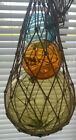 Vintage Lot 3 Glass Fishing Float Ball Amber Color Blue And Orange