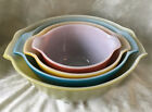 4 Piece Set Anchor Hocking Fire King Cinderella Style Mixing Bowls Rainbow Color