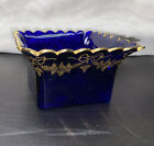 Square Glass Dish with Wavy Ruffled Rim Dappled Cobalt Blue with Gold Trim