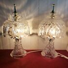 Two Vintage Gilbert Crystal Cut Glass 12 inch Lamps