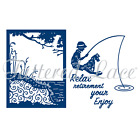 TATTERED LACE Cutting Die Time to Relax Boy With Dog Fishing summer fun