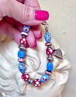 Artisan Crafted Sterling Silver Vintage African Trade Bead Heart Charm Bracelet