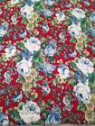 5yd cotton flannel fabric red blue floral material Marcus Brothers vintage new