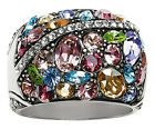 Brighton Silver Multi color Crystal Trust Your Journey Ring Size 8 Jewelry New
