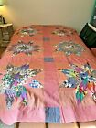 Vintage 1940s Pieced Stars Quilt TOP 67 x 98 Farmhouse Calico and Gingham Red