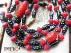 ANTIQUE ART DECO EGYPTIAN REVIVAL  CARVED  Glass Beads VINTAGE NECKLACE Gift