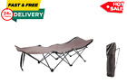 Collapsible Camp Cot Durable Steel Compact Folding Camping Bed Sleep Out Beige