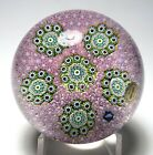 Large St Louis 1972 Ltd Ed Pink Carpet Ground Paperweight Millefiori Clusters