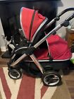 Babystyle Oyster Max 2 Pram Pushchair Double Bundle Red And Black