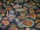 10 YDS REGAL TAPESTRY COFFEE POTS TEA POTS TIME UPHOLSTERY FABRIC FOR LESS