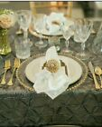 Decorative CHARGER PLATE Clear Glass Gold Beaded Rim Wedding Dinner 33cm 6pack