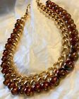 Vintage Pink Mother Of Pearl Glass Bead Necklace Gold Tone GORGEOUS