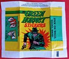 Vintage Topps 1966 Green Hornet Stickers 5-Cent Wax Pack Wrapper, Original