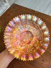 Marigold Northwood Carnival Glass Stippled Grape  Cable Pie Crust Edge Bowl