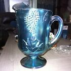 Blue Iridescent Carnival Glass Harvest Grape Large Vintage Pitcher With Ice Lip