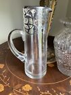 Antique Art Nouveau sterling silver overlay Glass Martini Pitcher Bar 10 Tall