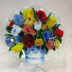 Peggy Karr Signed Fused Art Glass Floral Bouquet 105 Fluted Tulips Pansies