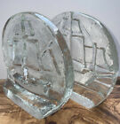 Pilgrim Crystal Clear Glass Tall Ship Bookends Art Glass Beautiful Condition