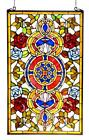 Stained Glass Chloe Lighting Victorian Red And Blue Roses Window Panel 20x32
