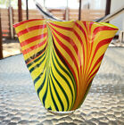 Blown Murano Glass yellow vase red green Swirling Vase Clear Base Original Tag
