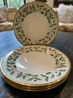 NWT SET OF 4 Lenox Christmas Holiday Holly Berry Dinner Plates 24kt Gold 105
