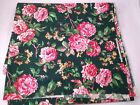 vintage forest green fabric floral pink roses Marcus Brothers material 4+yds x44