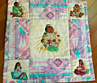 Vintage Native American  StoryTeller Painted Quilt Panel with Artist Signature