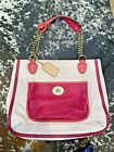 COACH Poppy Pebbled Leather Colorblock Tote Bag Pink Off White Chain Straps
