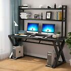 Computer Desk PC Laptop Gaming Table Study Workstation Home Office w Glass Top