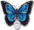 Amia BLUE MORPHO BUTTERFLY Painted Glass Butterfly Shaped Nightlight Water Cut