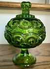 LE Smith Glass Moon And Stars Compote Green Pedestal Covered Bowl Candy Dish