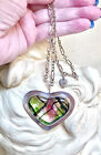 Beautiful Artisan Large Sterling Silver  Dichroic Art Glass Heart Necklace